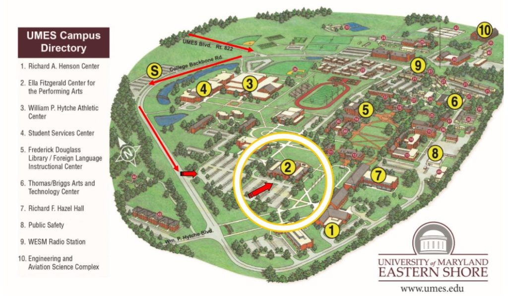 A picture of the UMES campus map it has the Ela Fitzgerald Center for the Performing Arts circled showing the location of the Eastern Shore Regional Spelling Bee.